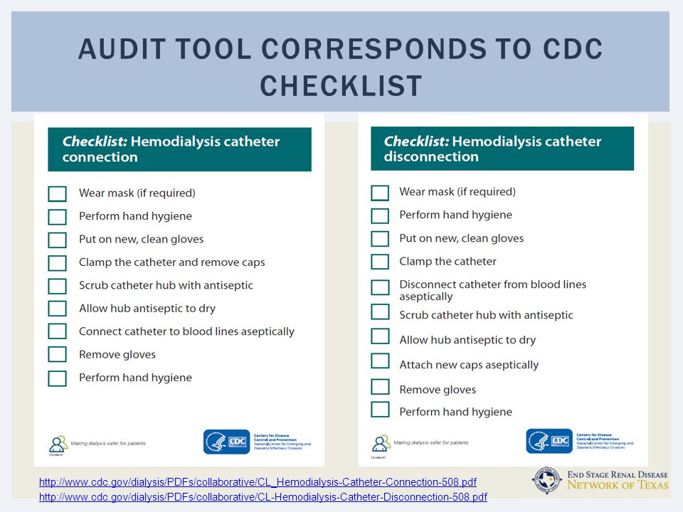 Audit tool corresponds to CDC checklist
