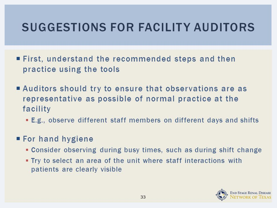 Suggestions for Facility Auditors