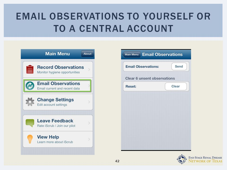 Email observations to yourself or to a central account