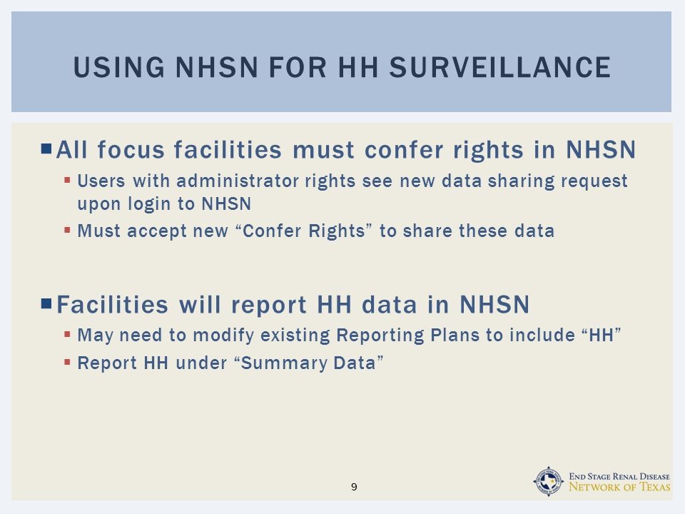 Using nhsn for HH surveillance