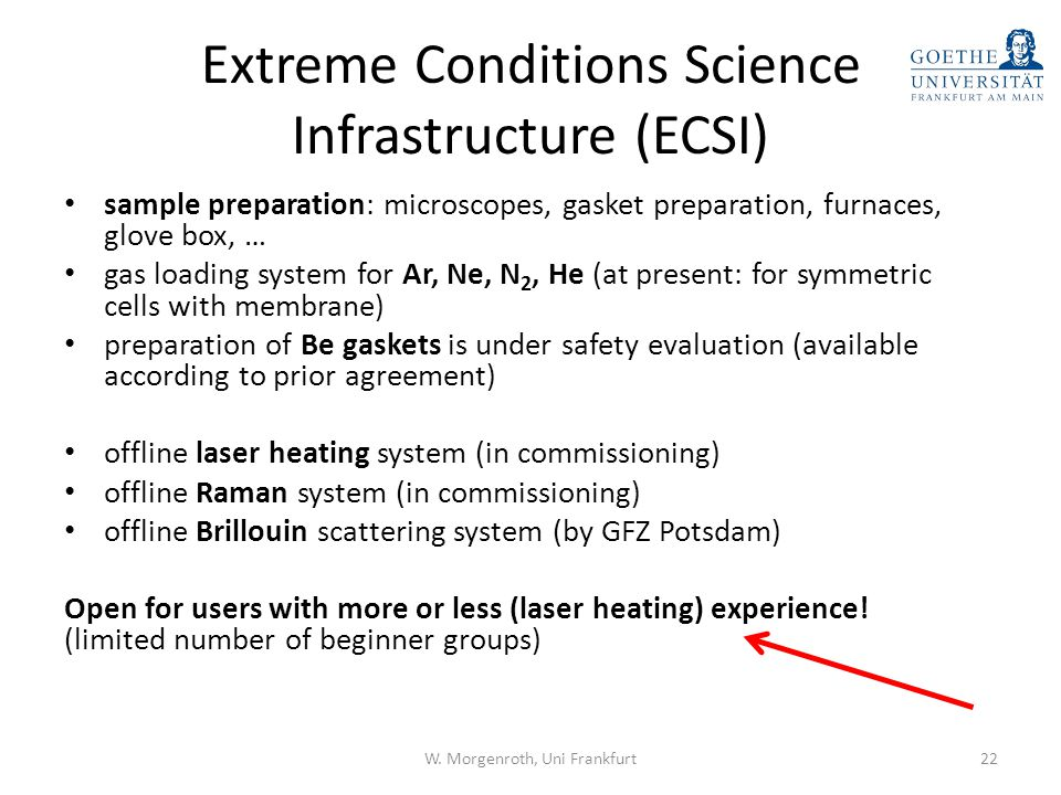 Extreme Conditions Science Infrastructure (ECSI)