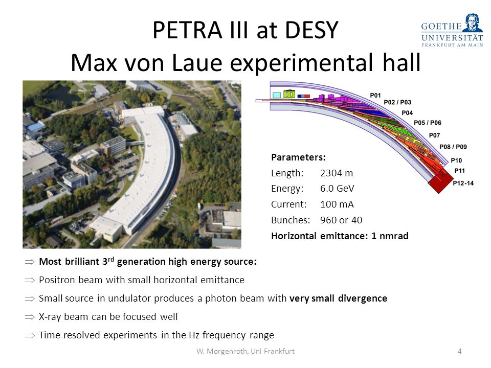 PETRA III at DESY Max von Laue experimental hall