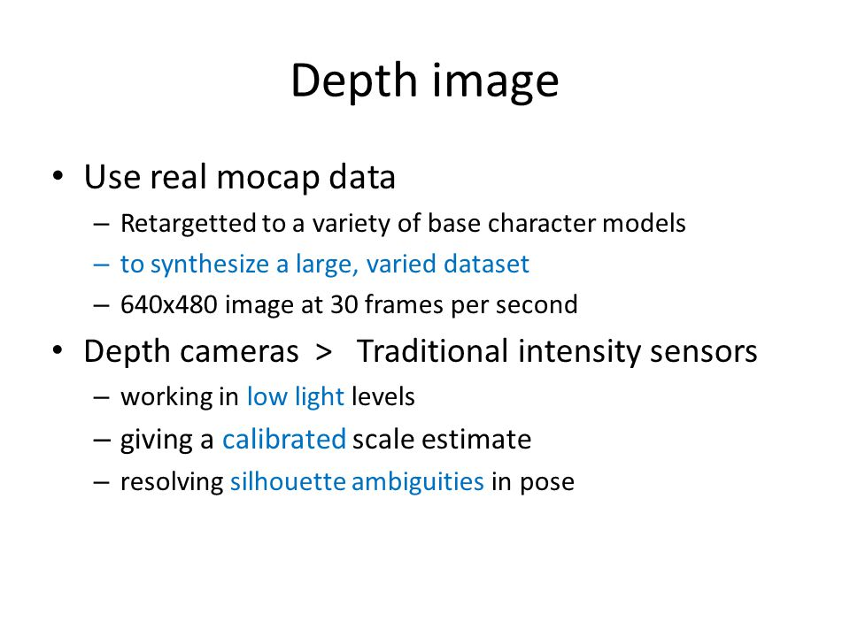 Depth image Use real mocap data