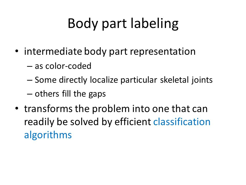 Body part labeling intermediate body part representation