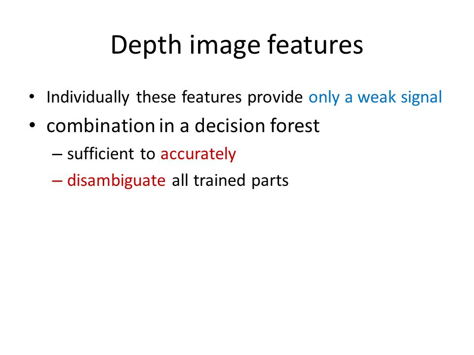 Depth image features combination in a decision forest