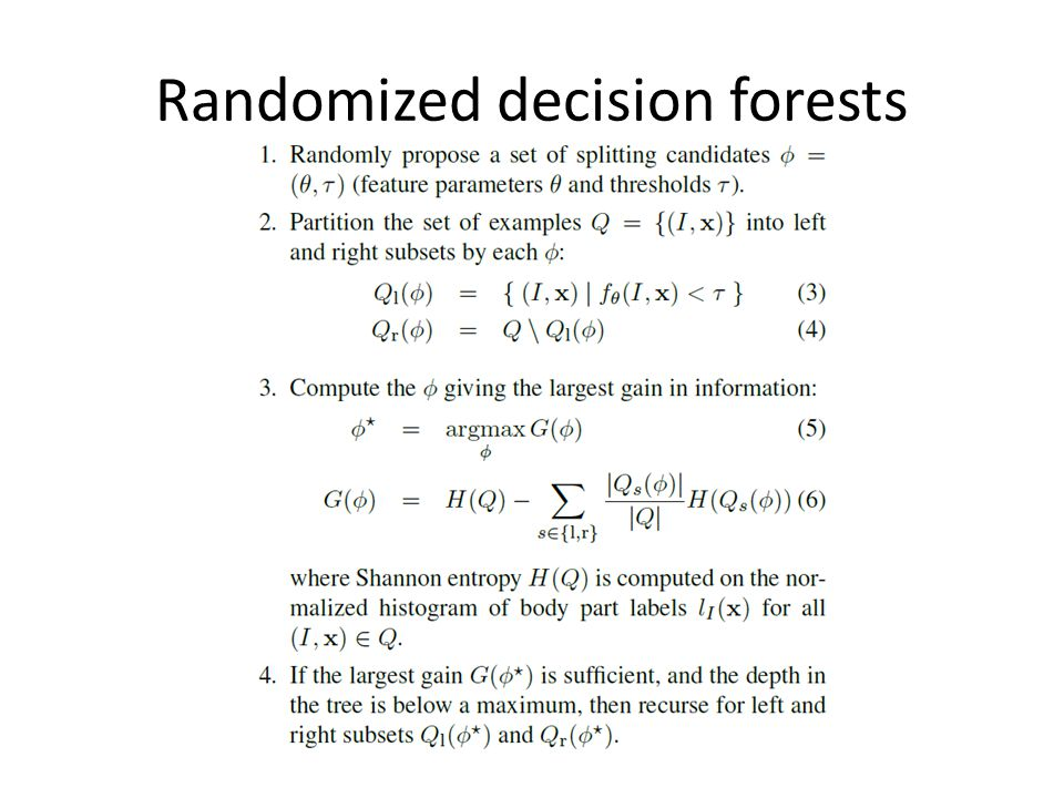 Randomized decision forests