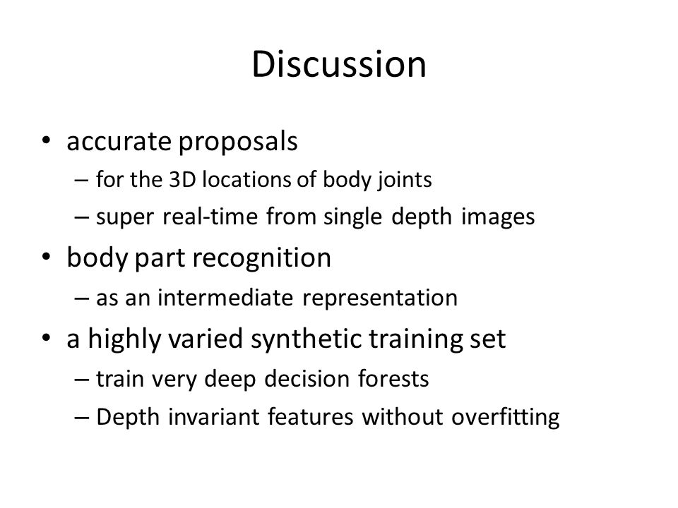 Discussion accurate proposals body part recognition