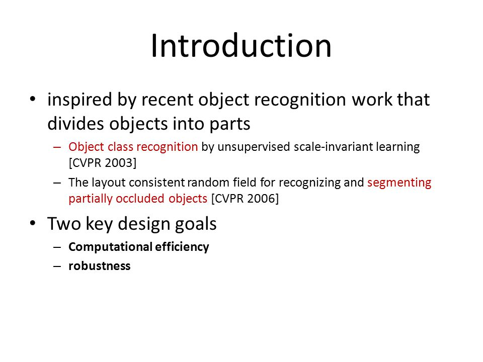 Introduction inspired by recent object recognition work that divides objects into parts.