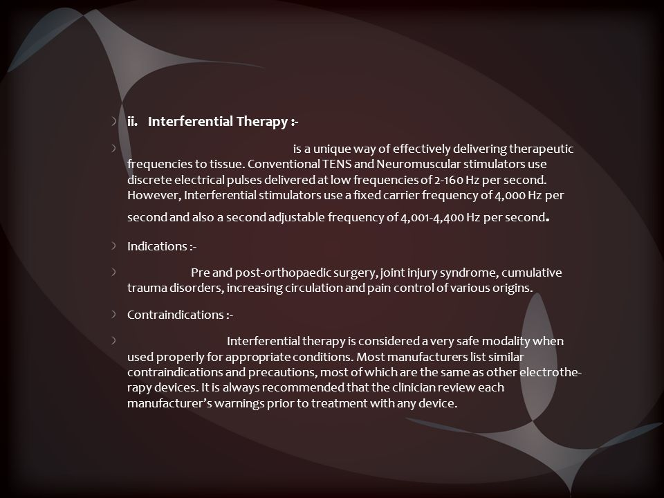 ii. Interferential Therapy :-