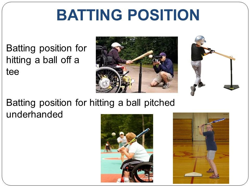 BATTING POSITION Batting position for hitting a ball off a tee