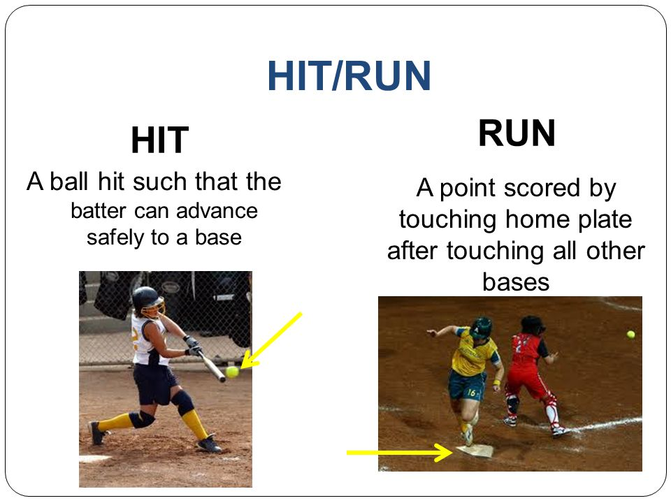 HIT/RUN RUN. HIT. A ball hit such that the batter can advance safely to a base.