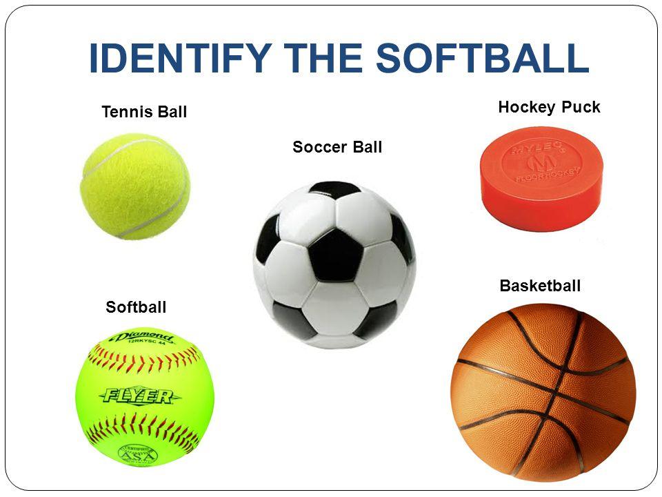 IDENTIFY THE SOFTBALL Hockey Puck Tennis Ball Soccer Ball Basketball