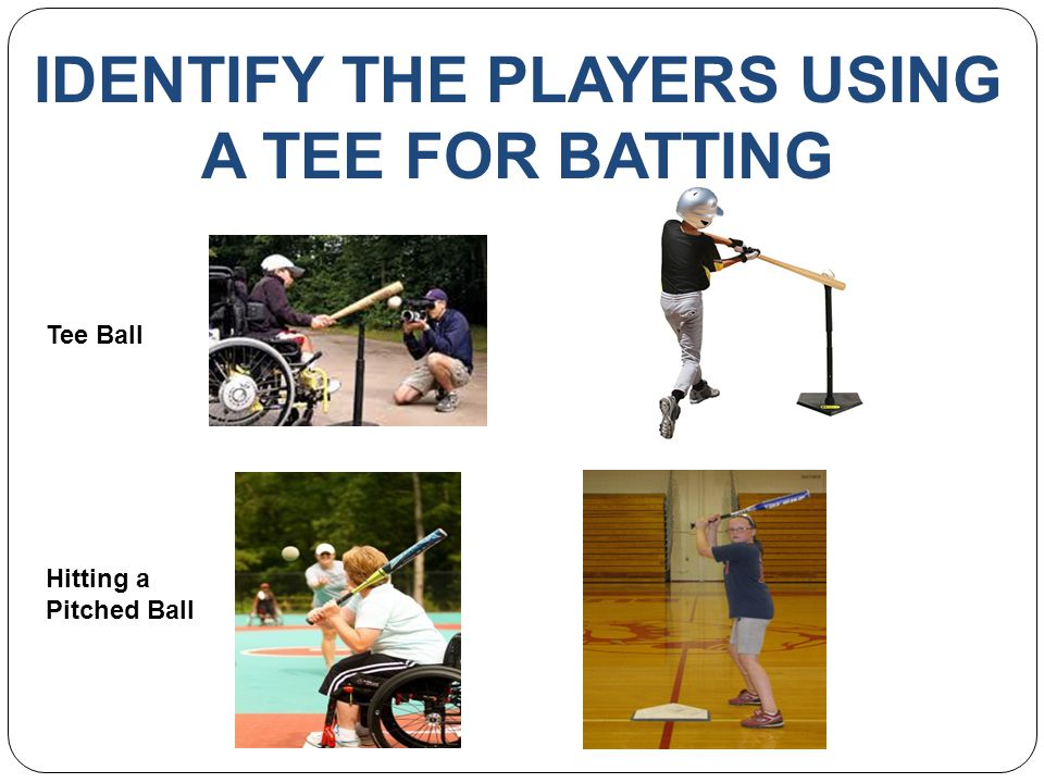 IDENTIFY THE PLAYERS USING A TEE FOR BATTING