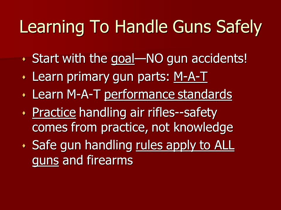 Learning To Handle Guns Safely