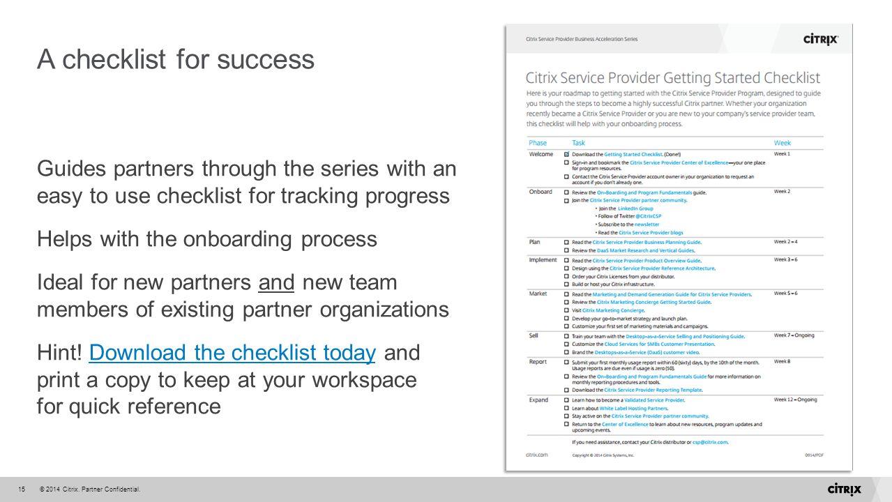 A checklist for success