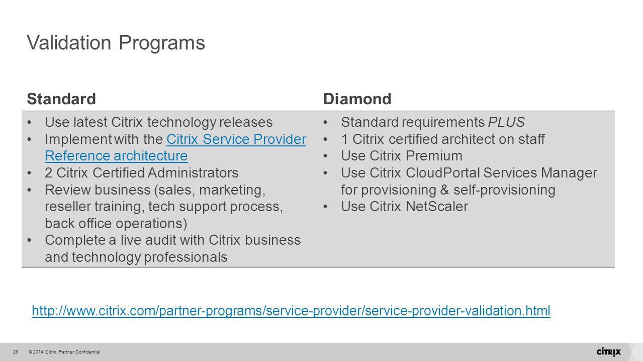 Validation Programs Standard Diamond