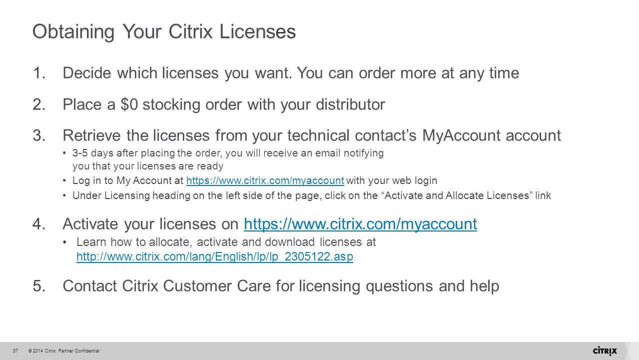 Obtaining Your Citrix Licenses
