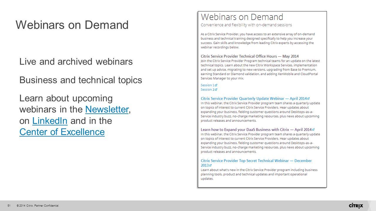 Webinars on Demand Live and archived webinars