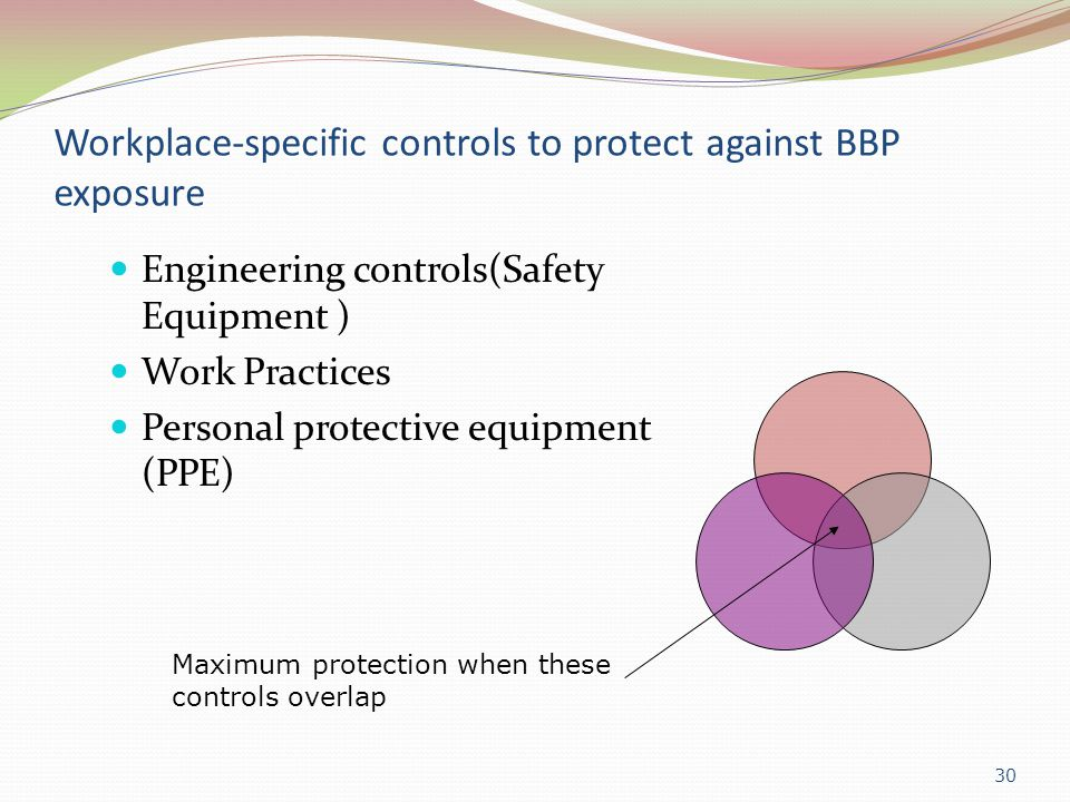 Workplace-specific controls to protect against BBP exposure