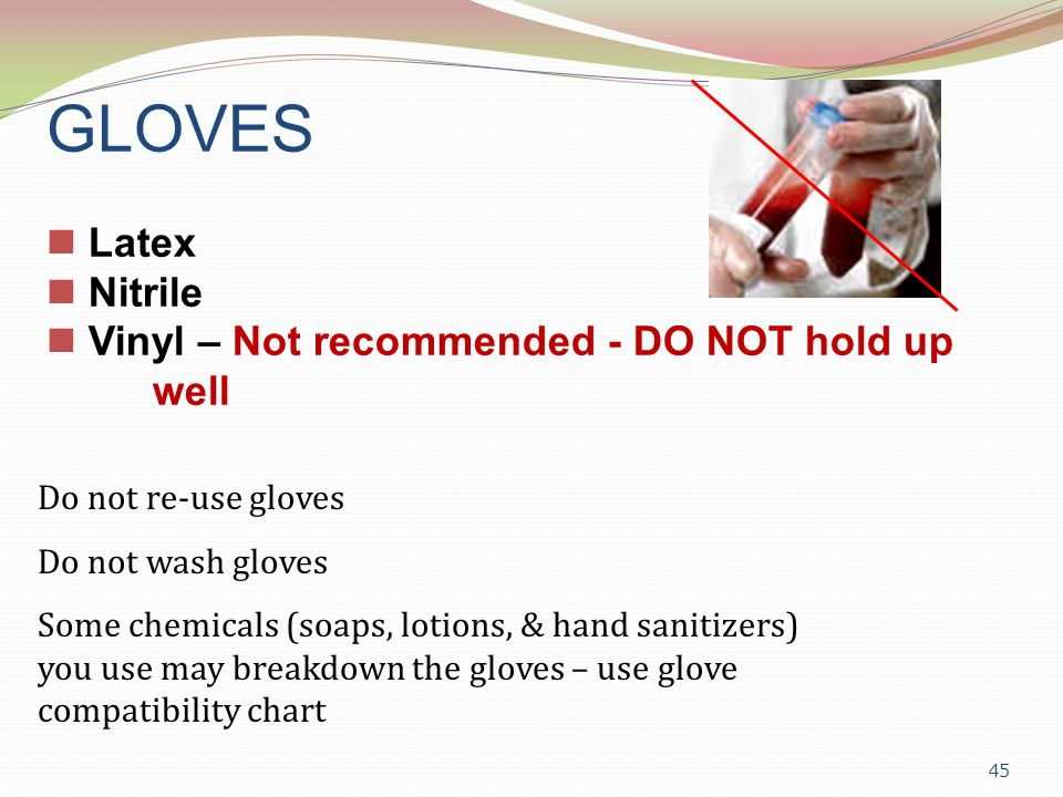 GLOVES Latex Nitrile Vinyl – Not recommended - DO NOT hold up well