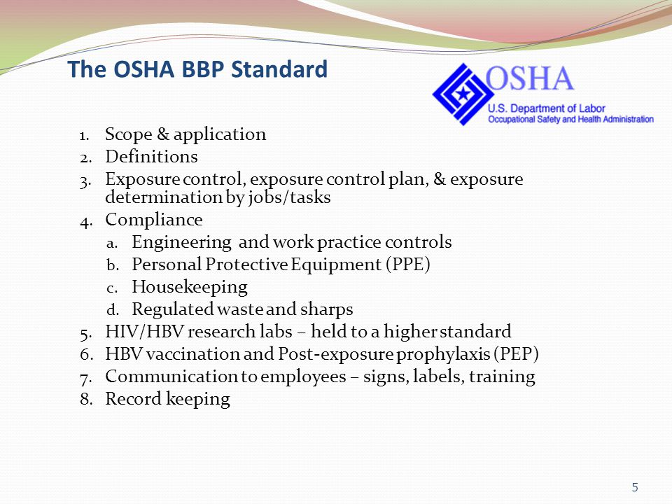 The OSHA BBP Standard Scope & application Definitions