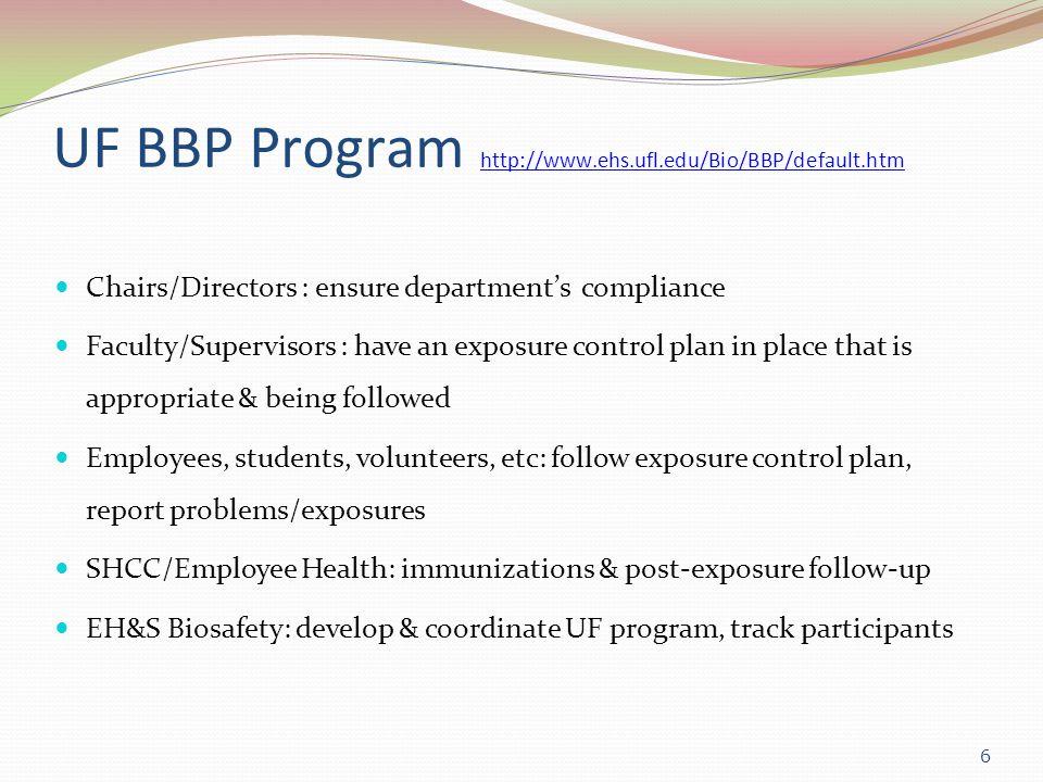 UF BBP Program http://www.ehs.ufl.edu/Bio/BBP/default.htm