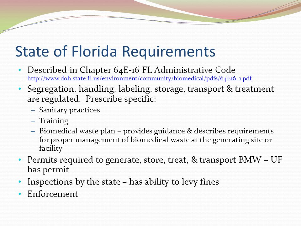 State of Florida Requirements