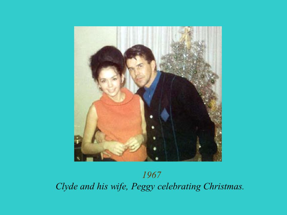 Clyde and his wife, Peggy celebrating Christmas.