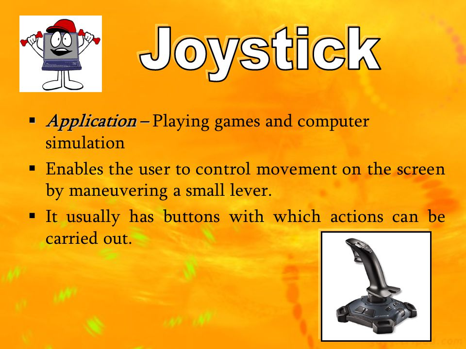 Joystick Application – Playing games and computer simulation