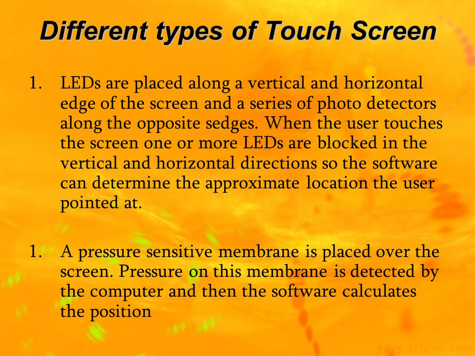 Different types of Touch Screen