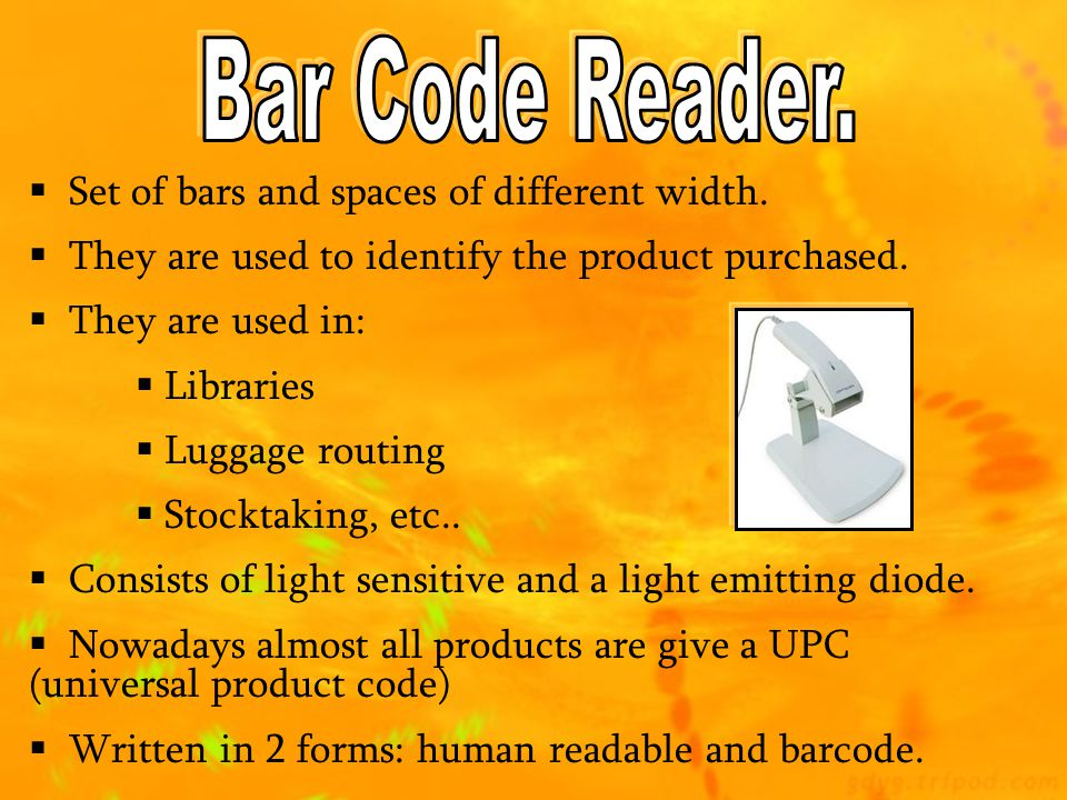 Bar Code Reader. Set of bars and spaces of different width.