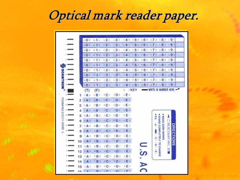 Optical mark reader paper.
