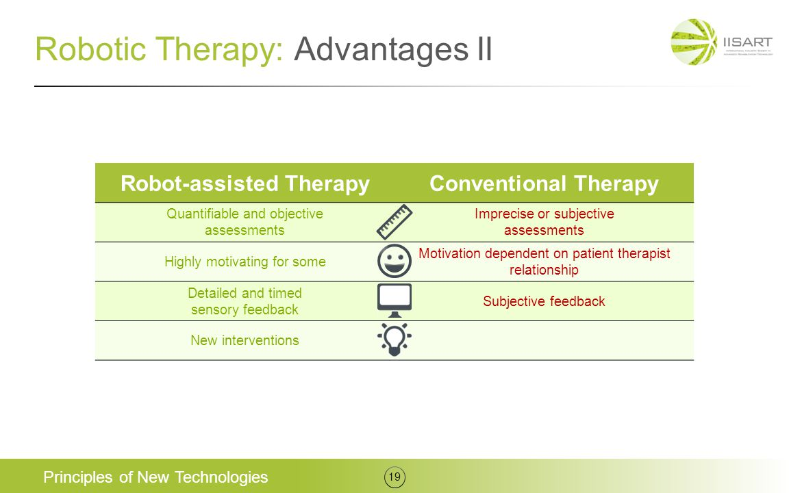 Robotic Therapy: Advantages II