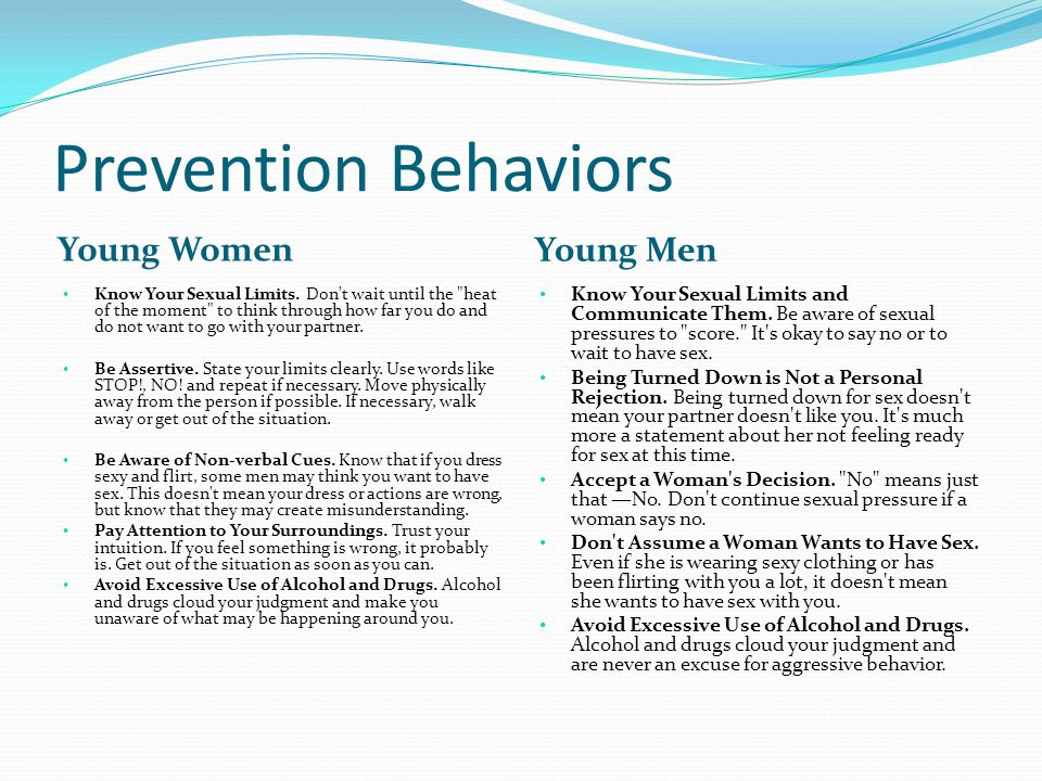 Prevention Behaviors Young Women Young Men