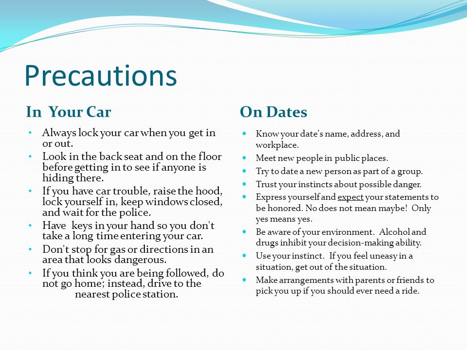 Precautions In Your Car On Dates