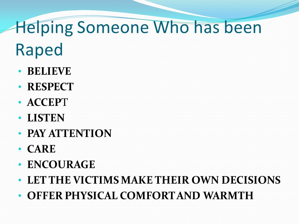 Helping Someone Who has been Raped