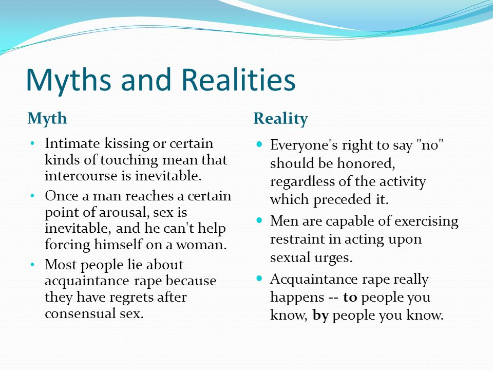 Myths and Realities Myth Reality