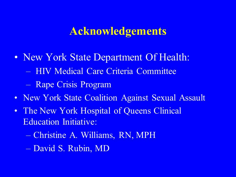 Acknowledgements New York State Department Of Health: