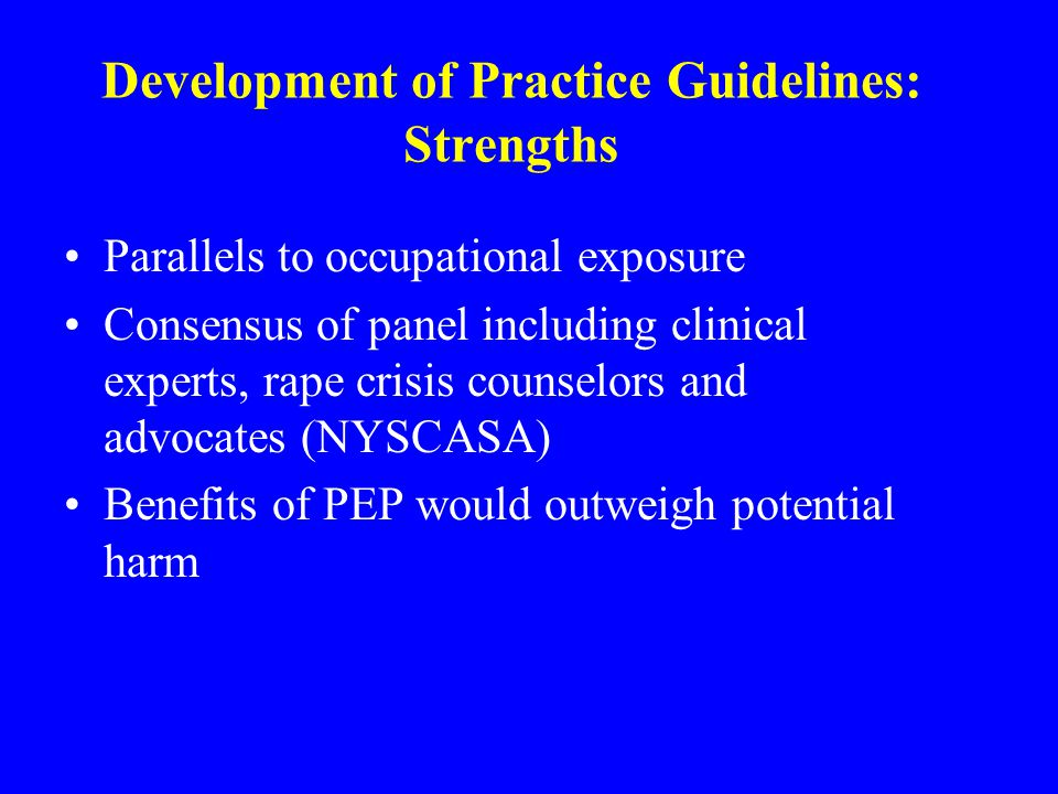 Development of Practice Guidelines: Strengths