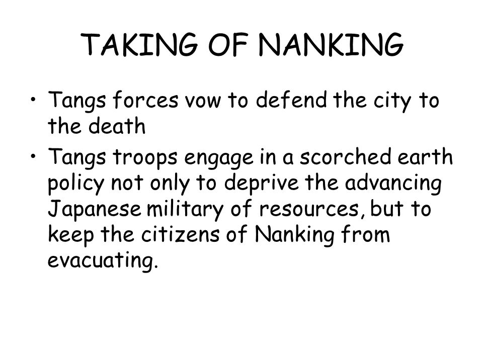 TAKING OF NANKING Tangs forces vow to defend the city to the death