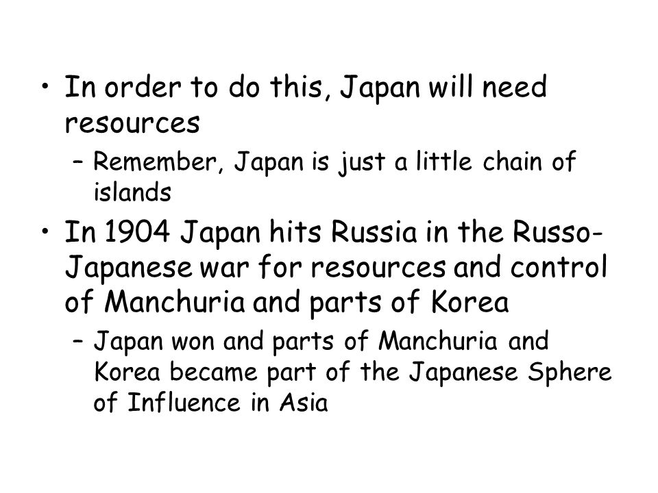 In order to do this, Japan will need resources