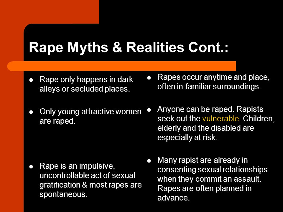 Rape Myths & Realities Cont.: