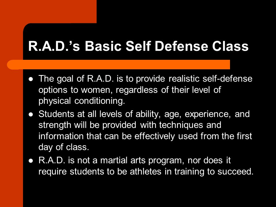 R.A.D.'s Basic Self Defense Class