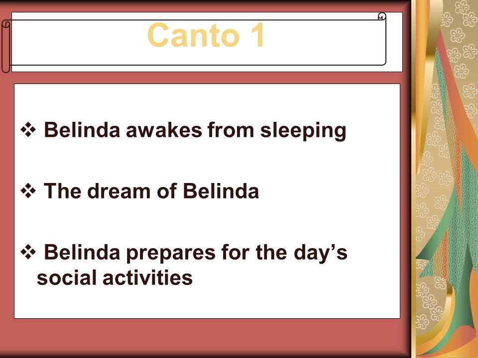 Canto 1 Belinda awakes from sleeping The dream of Belinda