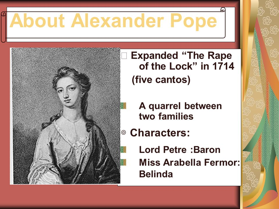 About Alexander Pope ◎ Characters: