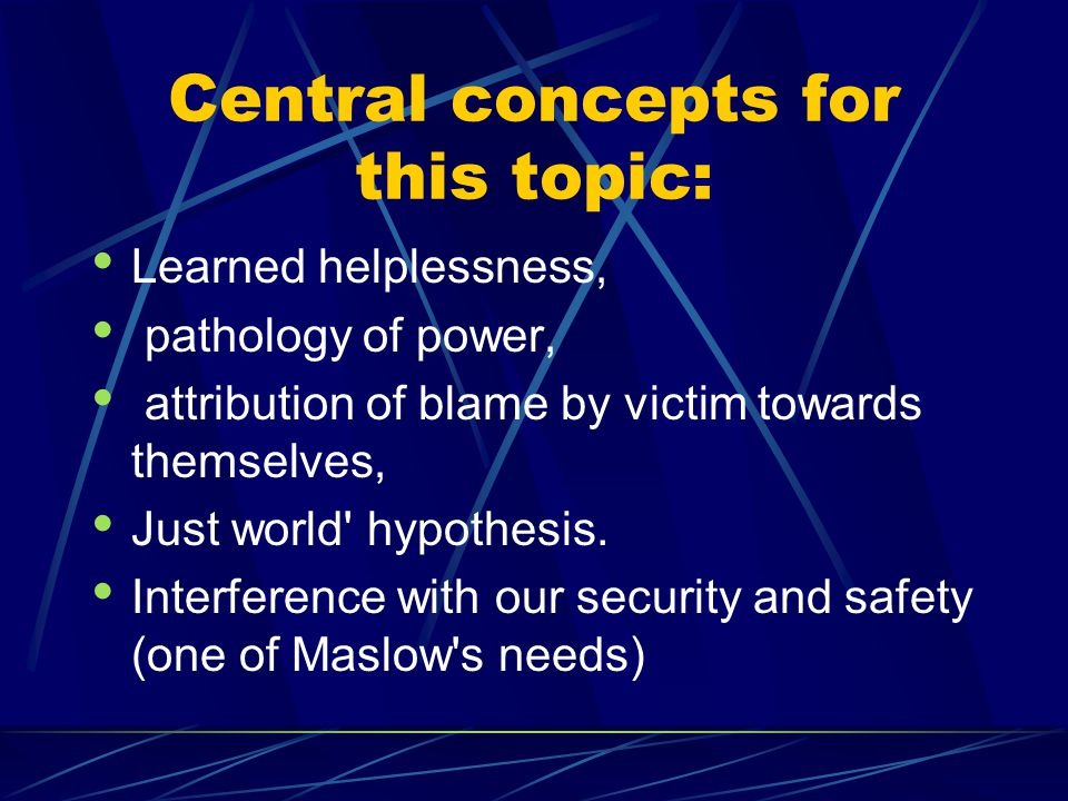 Central concepts for this topic:
