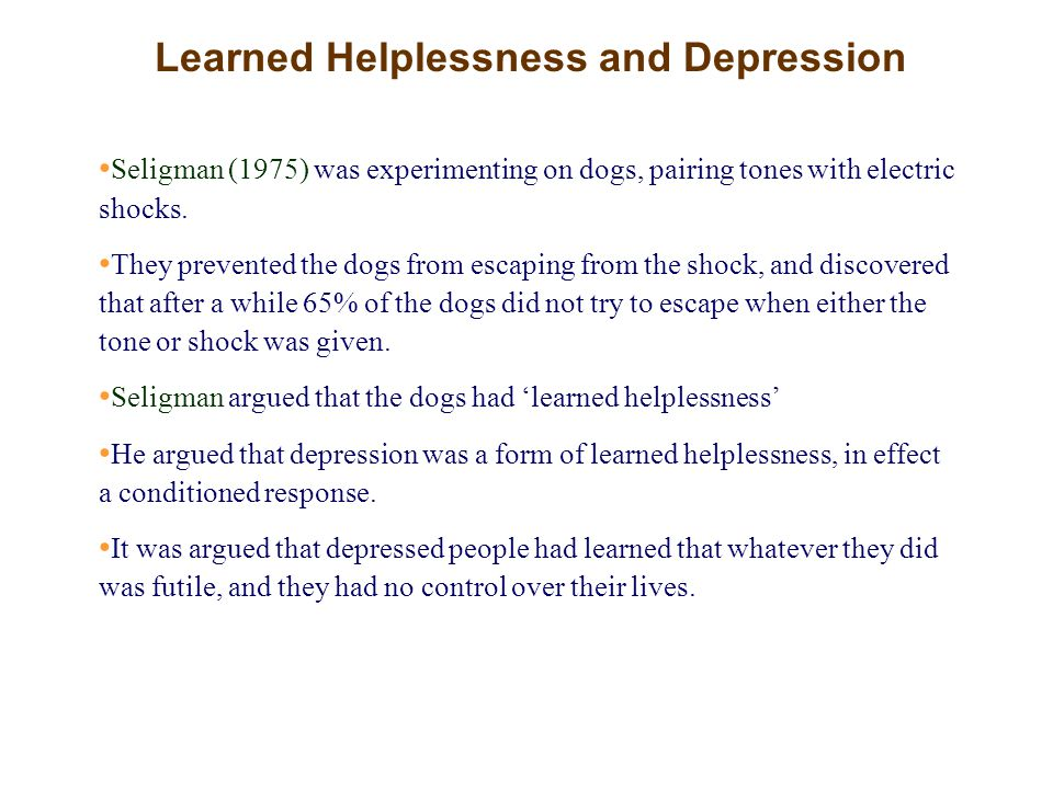Learned Helplessness and Depression