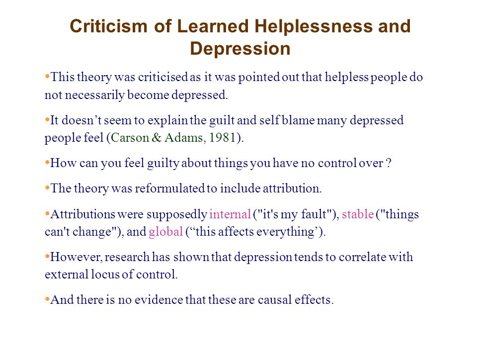 Criticism of Learned Helplessness and Depression