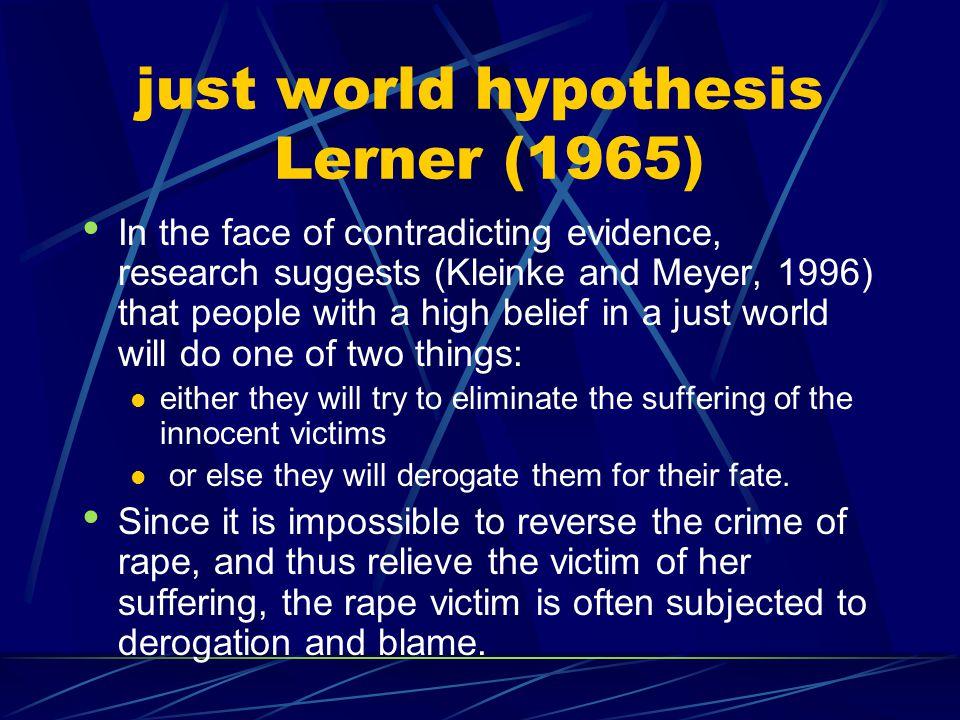 just world hypothesis Lerner (1965)