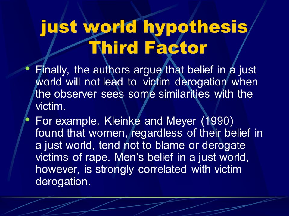 just world hypothesis Third Factor